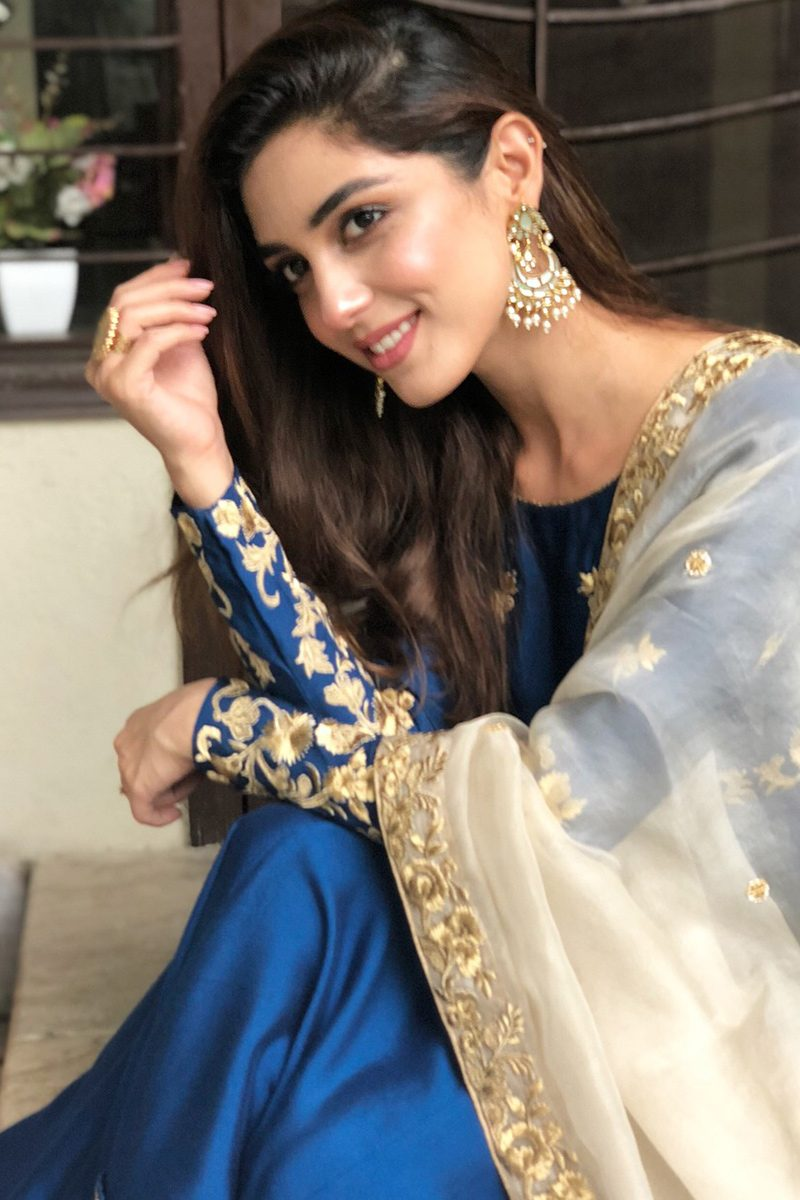 CELEBRITY PISHWAS BLUE HEAVEN ENSEMBLE by Faiza Saqlain - chambeili Bridal