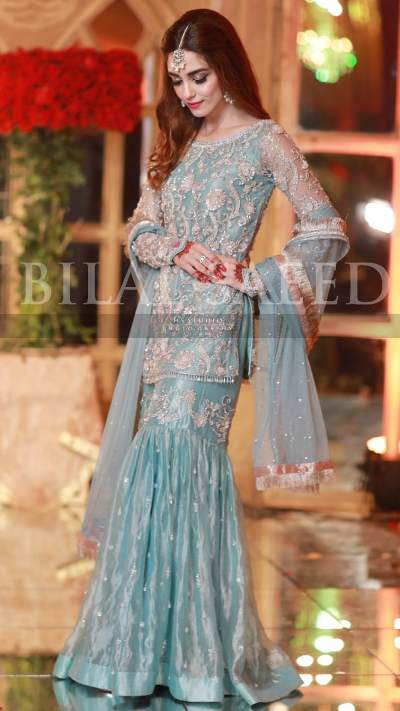 MAYA ALI GHARARA ENSEMBLE FORMAL by Faiza Saqlain - chambeili Bridal