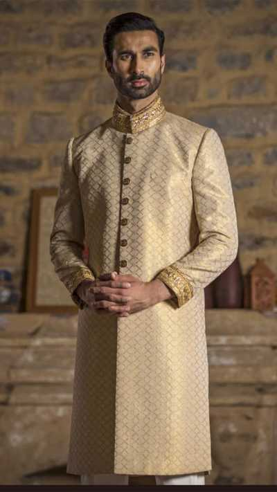 Dull Gold Sherwani Sarbala Sahab 2018 by Mohtaram - chambeili Bridal