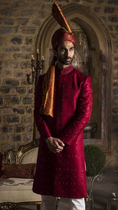 Red Embroidered Sherwani Sarbala Sahab 2018 by Mohtaram - chambeili Bridal