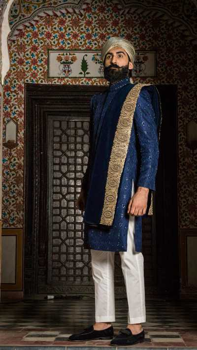 Blue Embroidered Sherwani Sarbala Sahab 2018 by Mohtaram - chambeili Bridal
