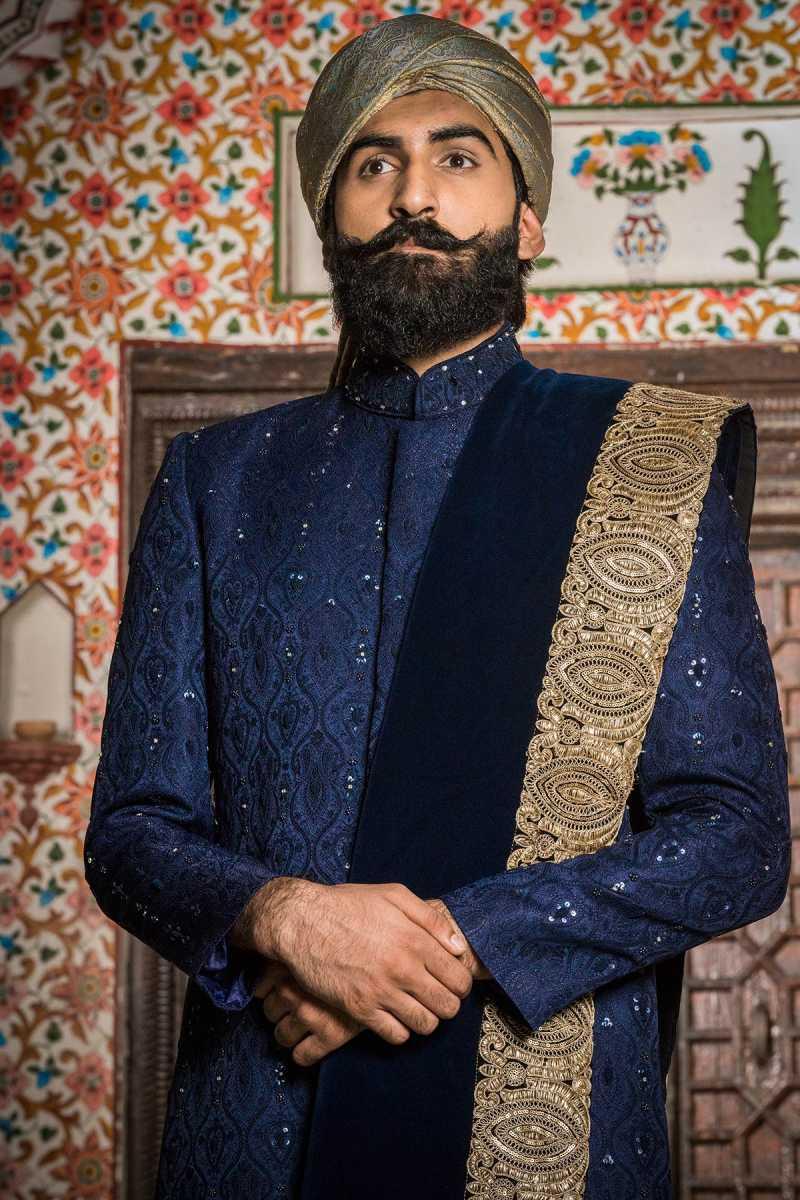 Blue Embroidered Sherwani Sarbala Sahab 2018 by Mohtaram - chambeili Bridal