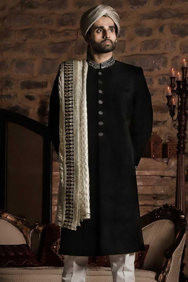 Black Textured Sherwani Sarbala Sahab 2018 by Mohtaram - chambeili Bridal