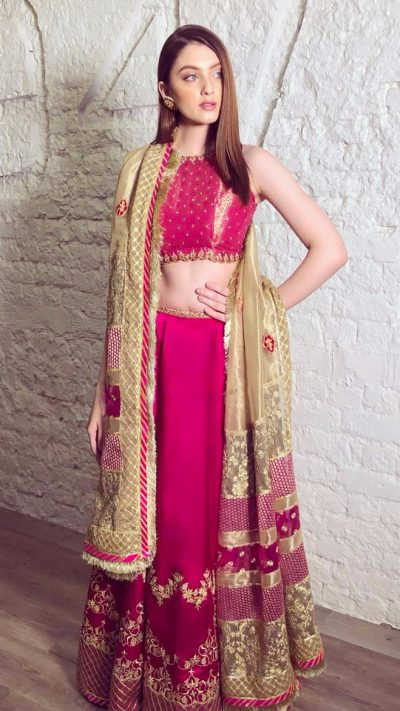 PINK BLOSSOM LEHENGA CHOLI ENSEMBLE FORMAL by Faiza Saqlain - chambeili Bridal
