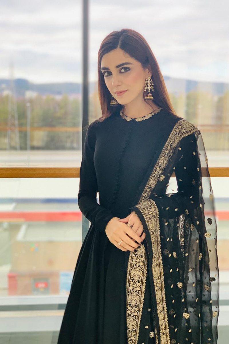 CELEBRITY BLACK PISHWAS ENSEMBLE PRET by Faiza Saqlain - chambeili Bridal