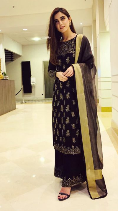 CELBRITY BLACK GOLD CULOTTE ENSEMBLE PRET by Faiza Saqlain - chambeili Bridal