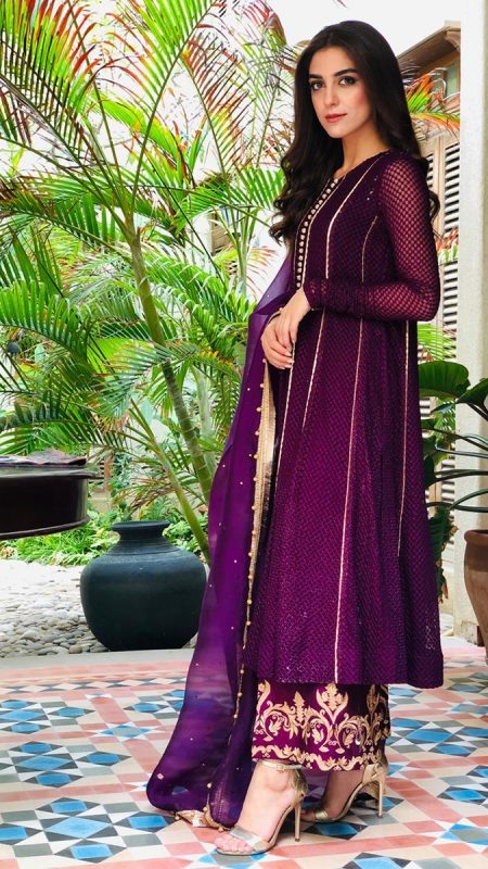 CELEBRITY DAHLIA PISHWAS ENSEMBLE PRET by Faiza Saqlain - chambeili Bridal