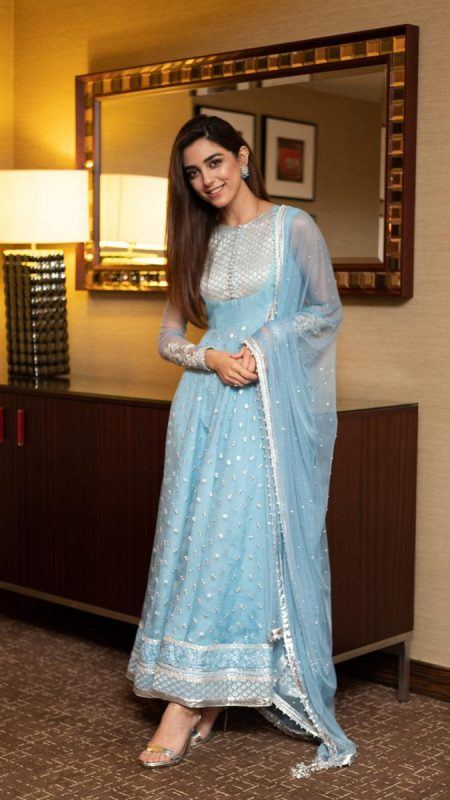 CELEBRITY POWDER BLUE PISHWAS ENSEMBLE PRET by Faiza Saqlain - chambeili Bridal