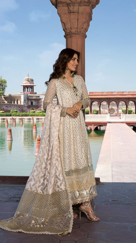MOGRA FAIRUZA DRESS FORMAL WEAR by Faiza Saqlain - chambeili Bridal
